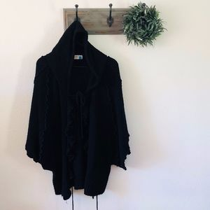 Anthro Sparrow Black Poncho Hood Sweater L